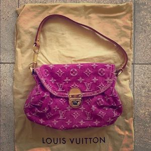 LOUIS VUITTON Pink Denim Monogram Pleaty Bag
